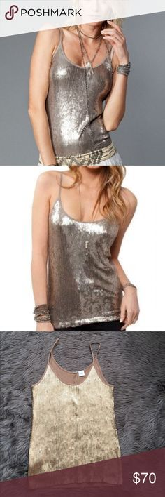 "Chan Luu Gold Cinder Sequin Tank NWOT GORGEOUS! Gold sequin ""Cinder"" tank by Chan Luu- new without tags. There is no size so the measurements are as follows: armpit to armpit- 15"", length- 18"". Closest size would probably me a small or medium. Chan Luu Tops Tank Tops"