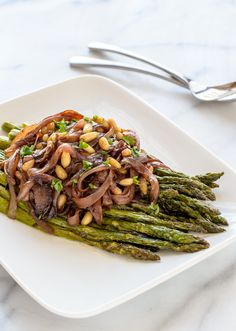 Easy Roasted Asparagus with Carmelized Onions and Pinenuts