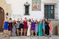 purposely 'non-co-ordinated' wedding party colours