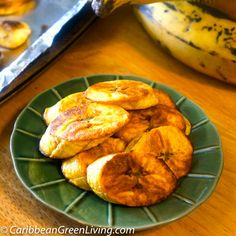 Baked Sweet Plantains made in the oven for a healthier snack or side dish.