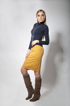 SALE now only 19.99 USD Women's Yellow, Honey, Knit , Zipper Pencil Skirt, , size small and medium