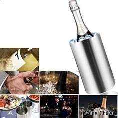 Wine Chiller - Hount Stainless Steel Ice Bucket Double Walled Wine Chiller