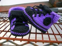 Punk Rock Purple and Black Baby Chucks by lpeekdesigns on Etsy