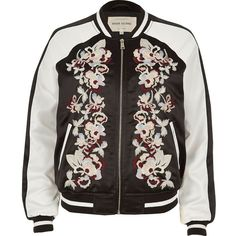 River Island Black embroidered bomber jacket ($83) ❤ liked on Polyvore featuring outerwear, jackets, coats, tops, coats & jackets, embroidered jacket, satin bomber jacket, river island jacket, river island and zip front jacket