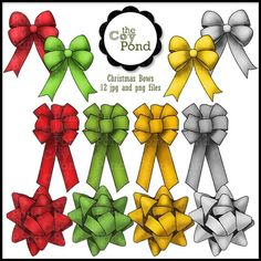 Christmas Clip Art -- Bows -- TheCoyPond