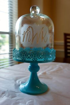 Personalized Cake Stand with Glass Dome by KirosityGifts on Etsy, $27.00