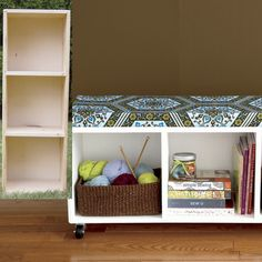 THINK OUTSIDE THE CASE... Unused wooden bookcase transformed into a comfy storage bench.