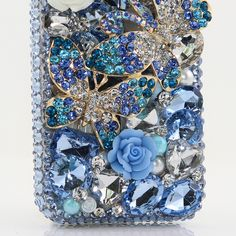 Spring Blue Double Butterfly bling phone case design - Protective Bling Samsung galaxy s3 s4 s5 s6 edge phone cases glitter blue luxury phone covers for women. http://luxaddiction.com/collections/3d-designs/products/spring-blue-double-butterfly-design-style-359