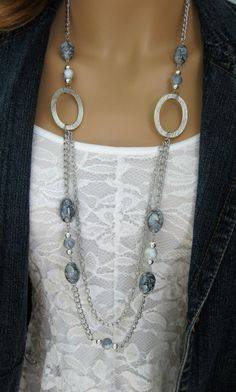 Long+Grey+Chunky+Beaded+Necklace+Multi+Strand+by+RalstonOriginals