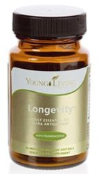 Longevity | Young Living Essential Oils  Longevity™ softgels are a potent, proprietary blend of fat-soluble antioxidants. Enriched with thyme, orange, and frankincense, Longevity protects DHA levels, a nutrient that supports brain function and cardiovascular health, promotes healthy cell regeneration, and supports liver and immune function. Longevity also contains clove oil, nature's strongest antioxidant, for ultra antioxidant support.  www.EliteEssentialOils.com  30ct $39.14