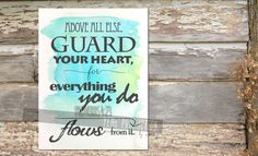 Encouragement Gift, Bible Verse Print, Proverbs 4:23 Printable Scripture Wall Art, Instant Download Christian Wall Art, Digital Art Print - pinned by pin4etsy.com