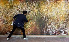 Jose Parla. Gesture Performing Dance, Dance Performing Gesture. 37 x 7 ft. Collage, acrylic, oil, ink, plaster, & enamel.