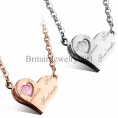 """""""Soul Mate"""" Love Heart Pendant Stainless Steel W/CZ Chain Necklace Women's Gift #Unbranded #Pendant"""