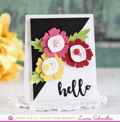 Hello flower card by Laurie Schmidlin for Queen and Company Glitter Globes, Birthday Cards, Happy Birthday, Washi Tape Cards, Memory Box Dies, Hand Stamped Cards, Die Cut Cards, My Stamp, Cool Cards