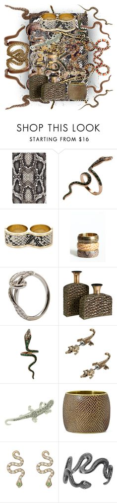 """""""Reptile Jewelry"""" by alevalepra ❤ liked on Polyvore featuring Melissa Odabash, Ileana Makri, BCBGMAXAZRIA, 1928, MNG by Mango, Pieces, AllSaints and reptile jewelry"""