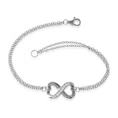 Half Heart Double Strand Cubic Zirconia Infinity Bracelet In Sterling Silver, 7 Inches: This stylish infinity… #DiamondJewelry #DiamondRings