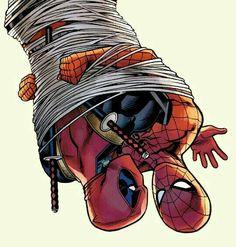 Deadpool x Spiderman imagenes Spideypool, Marvel Funny, Marvel Dc Comics, Spaider Man, Deadpool X Spiderman, Wattpad, Marvel Characters, Comic Character, Marvel Universe