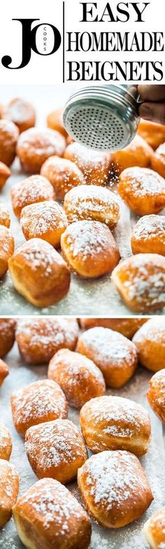 Nothing beats homemade beignets! They're soft, pillowy, fluffy and airy, not to mention totally scrumptious. Close your eyes, take a bite and enjoy! Beignets, Sweet Desserts, Just Desserts, Sweet Recipes, Churros, Breakfast Recipes, Dessert Recipes, Muffins, Cupcakes