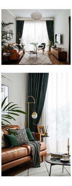 Dark Green Living Room, Green Living Room Ideas, Living Room Warm Colors, Dark Floor Living Room, Dark Green Rooms, Dark Living Rooms, Home Living Room, Living Room Designs, Nordic Living Room