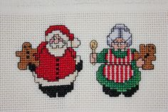 Finished cross stitch towel: Santa & Mrs. Claus FOR SALE • $12.00 • See Photos! Money Back Guarantee. You are bidding on a ecru hand towel. The towel measures 16 X24. From my smoke/pet free home. Ships to U.S. addresses only. If you are bidding on multiple items 122274889811