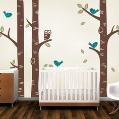 Birch Tree with Owl and Birds Wall Decal - Simple Shapes Wall Decals, Furniture, and Accessories
