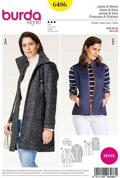 Burda Style Sewing Pattern - 6486 - Misses' Jackets Burda Sewing Patterns, Vest Jacket, Pattern Fashion, Dress Making, Jackets, How To Wear, Style, Cardigans, Deep