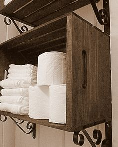 crate shelves in bathroom, laundry room, patio, etc. paint them or leave them in the raw