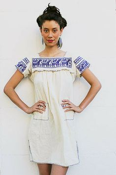 Tavin Boutique - Cream and Blue Guatemalan Dress