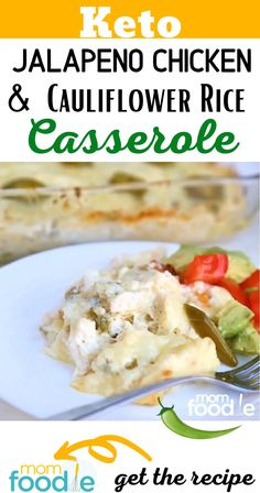 Keto Cheesy Jalapeno Chicken Casserole with Cauliflower Rice Recipe. Paleo Keto Recipes, Atkins Recipes, Low Carb Recipes, Soup Recipes, Diet Recipes, Chicken Recipes, Cauliflower Rice Casserole, Chicken Rice Casserole, Jalapeno Popper Chicken