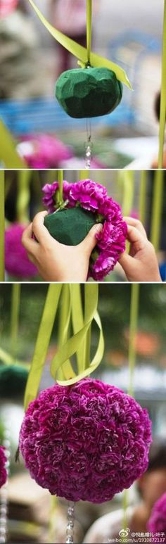 DIY Hanging Flower Ball with carnations, love this for over gift or dessert table or bar area