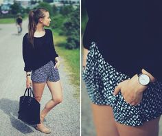 Gina Tricot Cardigan, Shorts, Zara Bag, Bianco Footwear Ballerinas, Daniel Wellington Watch