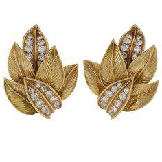 Van Cleef & Arpels Mid-20th Century Diamond Leaf Earrings
