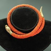 Dutch antique Victorian coral snake neck collar jewel necklace