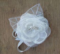 Weddings  Bridal Accessories Wrist Corsage Bridal Flower Bouquet Alternative White Organza Silver Tulle Prom Weddings Bridesmaid Corsage
