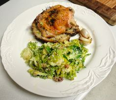 C H E W I N G T H E F A T: Melissa Clark's Mother's recipe for Thyme-Roasted Chicken with Mustard Croutons and Melissa's recipe for Brussels Sprouts Salad