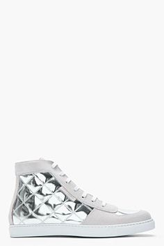 buy popular b657f f39a9 Marc Jacobs Metallic Silver Spring Quilt Sneakers for men   SSENSE Suede  Sneakers, White Sneakers
