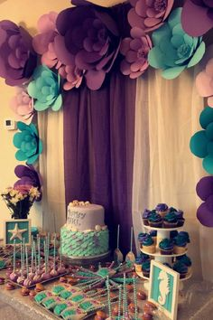 Looking for Baby Shower Themes? Tons of free checklists, baby shower planning tips and celebration inspiration. Start Party Planning like a pro! Mermaid Theme Birthday, Little Mermaid Birthday, Baby Girl 1st Birthday, Whale Birthday, Turtle Birthday, Turtle Party, Carnival Birthday, Mermaid Baby Showers, Baby Mermaid