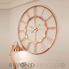 Metal Skeleton Wall Clock Copper Color Iron Frame Bedroom Living Room Decoration for sale online Metal Industrial, Copper Metal, Copper Color, Industrial Clocks, Industrial Vintage, Copper Spray, Wall Clock Copper, Skeleton Wall Clock, Clock Wall