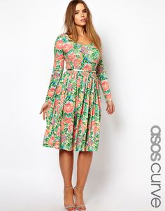 ASOS Curve | Midi Dress In Pixulated Floral