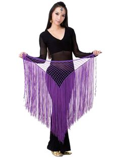 peacock hip scarf | Women Belly Dance Egyptian Triangle Shawl Tassel Costume Hip Scarf