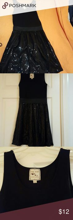 Black Cotton and Sequins dress Banded waist to accent waist and bust Pink Rose Dresses Midi