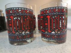 Vintage Lot of 6 Houze Happy Holiday Christmas Stained Glass Drinking Glasses | eBay