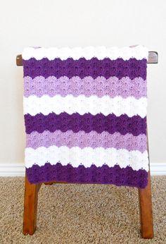 Purple Crochet Baby Blanket Baby Shower by stickshooksandyarn