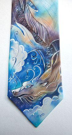"""Купить Галстук """"Дракон"""" - дракон, синий, голубой, фиолетоввый, бирюзовый, золотистый, ночь, полет, звезды"""