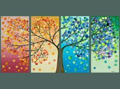 "paint the tree and different backdrops, yes...then use different sized sponge pouncers for ""leaves"""