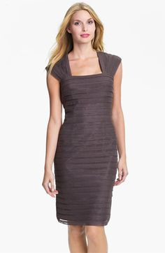 LOVE IT!!!!! MOB!!!!!!! Adrianna Papell Shutter Pleat Mesh & Taffeta Sheath Dress available at #Nordstrom