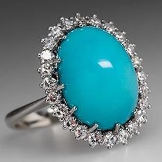 Turquoise Jewelry Ring Vintage Turquoise Cocktail Ring w/ Diamond Halo White Gold - Turquoise Rings, Vintage Turquoise, Jewelry Rings, Fine Jewelry, White Gold Jewelry, Wedding Rings Vintage, Diy Schmuck, Halo Diamond, Cocktail Rings