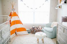 orange & teal nursery.