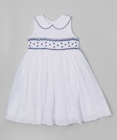 Look at this Laura Ashley London White & Blue Embroidered Peter Pan Collar Dress - Toddler & Girls on #zulily today!