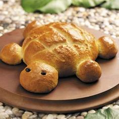 I've done this several times using frozen (ready-made) bread dough. It's a little bit sad to eat such a cute turtle, though. :-)